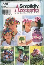 Simplicity 7539 Appletree Hats Bags Tote Backpack sewing pattern Spring UNCUT