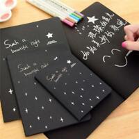 Sketch book Pure Black Paper Diary drawing Painting Graffiti Notebook School LD