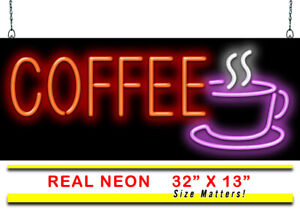 """Coffee With Cup Neon Sign   Jantec   32"""" x 13""""   Espresso Bar Latte Diner Cafe"""