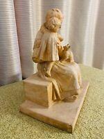 """Sculpture en terre cuite """"Grand-mère, petite fille et son chat"""" de RICHARD FATH"""