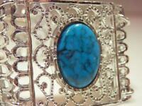 Beautiful Ornate Silver Tone Faux Turquoise Lucite Vintage 1970's Bracelet 536o9