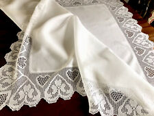 More details for vintage hand crochet white linen lace hearts & flowers table cloth 46x46 inches