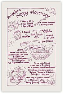 RECIPE FOR A HAPPY MARRIAGE Tea Towel. Natural/Maroon Wedding / Anniversary Gift