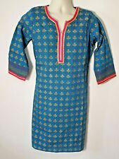 BIBA ETHNIC BLUE/ GOLD / MULTI TUNIC KAFTAN DRESS HIPPIE FOLK INDIAN - SIZE 34