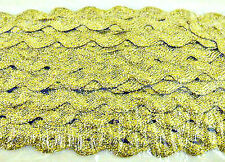 METALLIC RIC RAC TRIM, 8MM,ART/CRAFT/ EMBROIDERY 5MTRS OR 25MTRS- GOLD OR SILVER