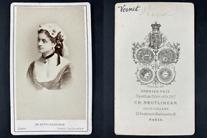 Reutlinger, Paris, Georgette Vernet, danseuse et violoniste Vintage cdv albumen