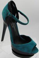 Womens Jessica Simpson Ankle Strap Double Platform Pumps Shoes Turquoise Sz 7.5B
