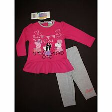 PEPPA PIG ensemble t-shirt tunique rose + legging gris 12 18 24 ou 30 mois NEUF