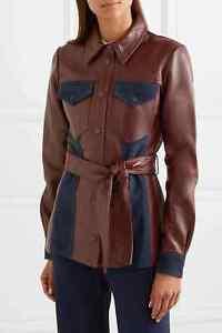VICTORIA BECKHAM Suede Paneled Leather Jacket Shirt Burgundy Size UK 8