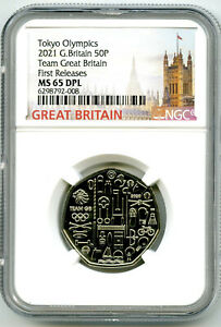 2021 GREAT BRITAIN TEAM 50P NGC MS65 DPL TOKYO OLYMPICS FIRST RELEASES