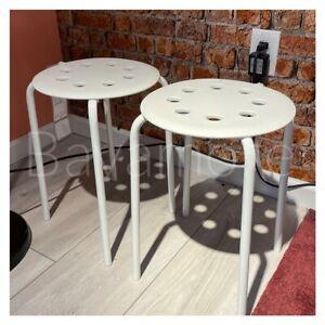 IKEA Marius, Stool stackable, Kitchen Breakfast Bar Dining Stool White -SET OF2-