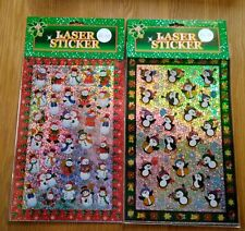 2 Packs Christmas Laser Stickers Card Making Crafts Gift Snowman Penquin