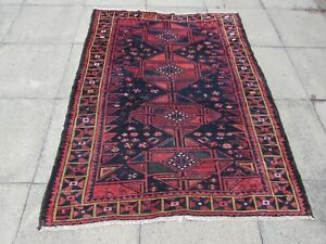 Vintage Worn Hand Made Traditional Oriental Wool Blue Red Rug  186x141cm