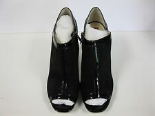 NEW! Anne Klein Black Patent Leather & Suede Peep Toe Zipper High Heels Size 10