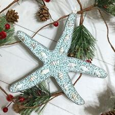 """Starfish Ornament Beaded 6.5"""" Christmas Holiday Glitter Coastal Beach Sea Shell"""