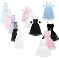 Kids Girls Lyrical Ballet Dance Dress Mesh Tutu Skirt Leotard Romantic Dancewear