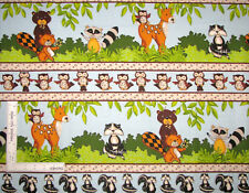 Animals Deer Raccoon Owl Stripe Cotton FLANNEL Fabric Forest Friends By The Yard