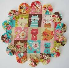 """Patchwork Cats Table Centerpiece Pink Kitty YoYo Candle Mat 10"""" Handmade Doily"""