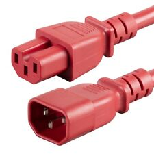 6FT IEC 320 C14 To C15 Power Extension Cord Cable 15A SJT 14AWG PDU UPS Red