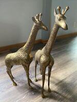 "PAIR Large Brass Giraffe Statue Hollywood Regency Mid Century 22"" Tall Sculpture"
