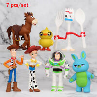 Toy Story 4 Woody Lightyear Alien Forky Buzz Bunny Figure Doll Cake Topper 7Pcs