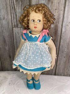 "Antique LENCI Doll 13"" Italian Felt 1920-1930"