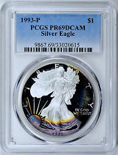 1993 S $1 Silver Eagle PCGS PR69 ( Beautifully Toned ) ASE Proof Coin Bullion