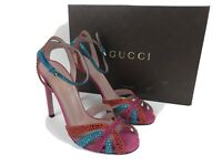 GUCCI 353763 Leather High Heel Sandals with Crystals  Pink / Red / Blue  Size 39