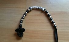 BABY GIRL BLACK BLING MINNIE MOUSE PERSONALISED DUMMY HOLDER CLIP
