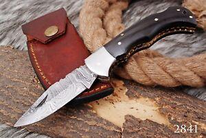 CUSTOM HAND FORGED DAMASCUS STEEL FOLDING Pocket KNIFE W/ BUFFALO HORNE HANDLE