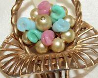 Old Antique Gold Tone Flower Basket Simulated Pearl & Glass Bead Brooch