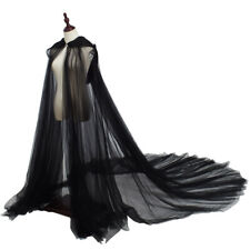 Gothic Wedding Cape Floor Length Hooded Cloak Big Train Long Cape 4 Patterns