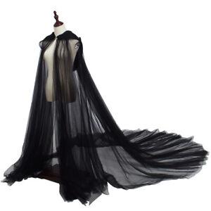 Gothic Wedding Cape Floor Length Hooded Cloak Big Train Long Cape 4 Patterns