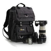 "Waterproof Canvas DSLR SLR Camera Backpack 14"" Laptop Bag Padded Rucksack +Cover"
