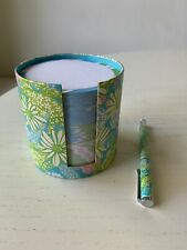 Set Lilly Pulitzer Round Blue Floral Daisy Paper Pad Note Stack w/ Matching Pen