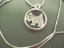 NWOT-  15' LONG SILVERTONE CRYSTAL SCOTTISH DOG PENDANT GIFT BOXED  NECKLACE
