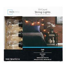 String Light Set 10ct Mainstays Cafe Style Decorative Indoor Lights NEW