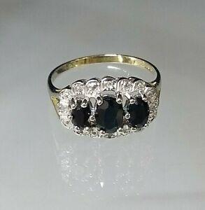 Genuine Sapphire & Diamond Cluster Ring 9ct yellow gold Hallmarked Sz N