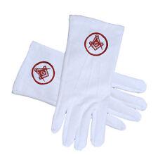 Masonic Standard Red Square and Compass Cotton White Gloves Masonic Regalia