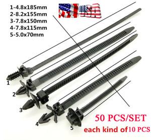50 PCS Car Line Cable-Ties Zip Wrap Push Rivet Clip Wiring Loom Harness Fastener