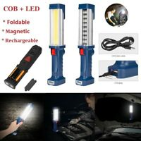 COB LED Hand Torch Lamp Magnetic Inspection Work Light Handheld USB Rechargeable