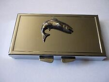 Country Life Salmon W5 Fine English Pewter On Mirrored 7 Day Pill box Compact