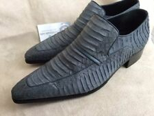 ARTIOLI Grey Blue Python Leather Men's Loafer Shoes Hand Made in Italy Size 7