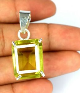 Emerald Cut 27.50 Carat 925 Sterling Silver Pendant Lemon Topaz Certified N2234