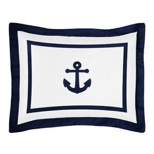 Pillow Case Sham For Sweet Jojo Designs Navy & White Nautical Anchor Boy Bedding