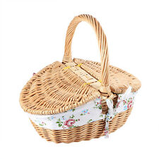 Travel Rustic Style Wicker Camping Picnic Basket Shopping Storage Hamper EB