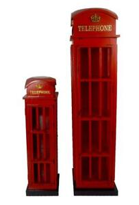Traditional Red Telephone Box Style Wooden Cabinet Vintage Home Cupboard Storage