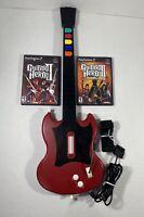 PS2 Guitar Hero  RedOctane SG Gibson Red & Black PSGLH W/ Guitar Hero 2 & 3 Game