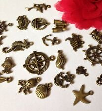 15 NAUTICAL SEA mixed charms Bronze Tone Turtle crab shell fish anchor helm UK
