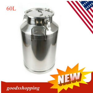 60L Stainless Steel Milk Can Wine Pail Bucket Tote Jug Oil Barrel Tea Canister